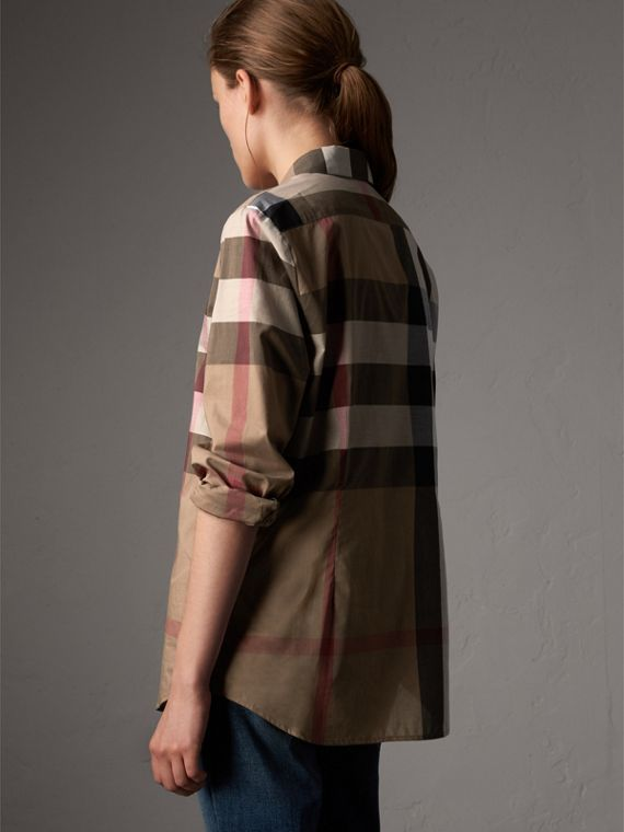 Check Cotton Shirt in Taupe Brown - Women | Burberry - cell image 2