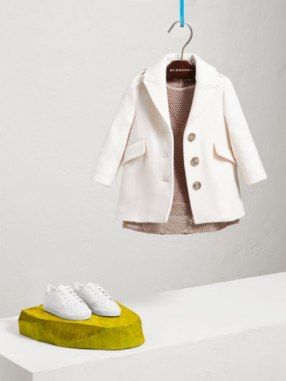 Cashmere Tailored Coat in Natural White