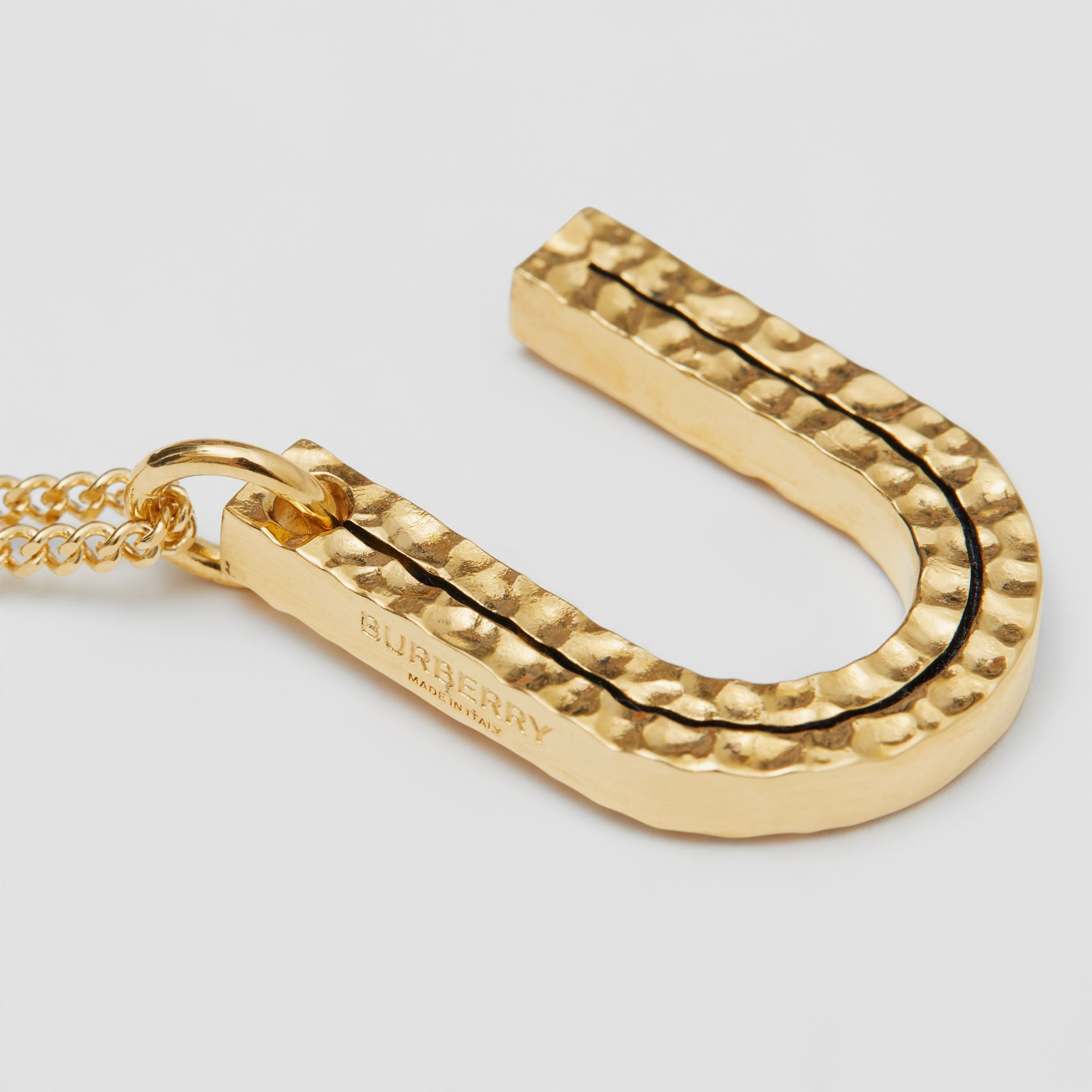 'U' Alphabet Charm Gold-plated Necklace in Light - Women | Burberry Australia - gallery image 1