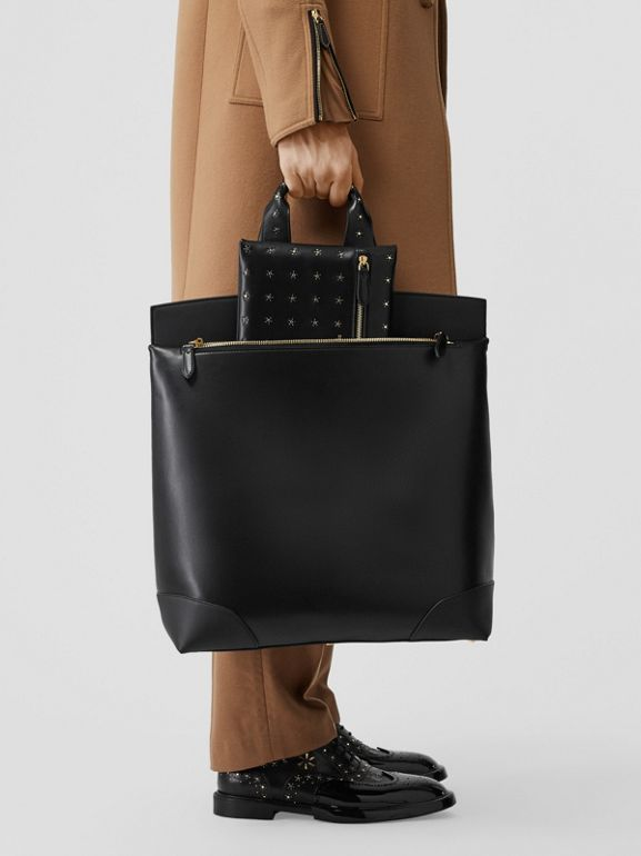 Leather Portrait Society Tote in Black - Men | Burberry - cell image 1