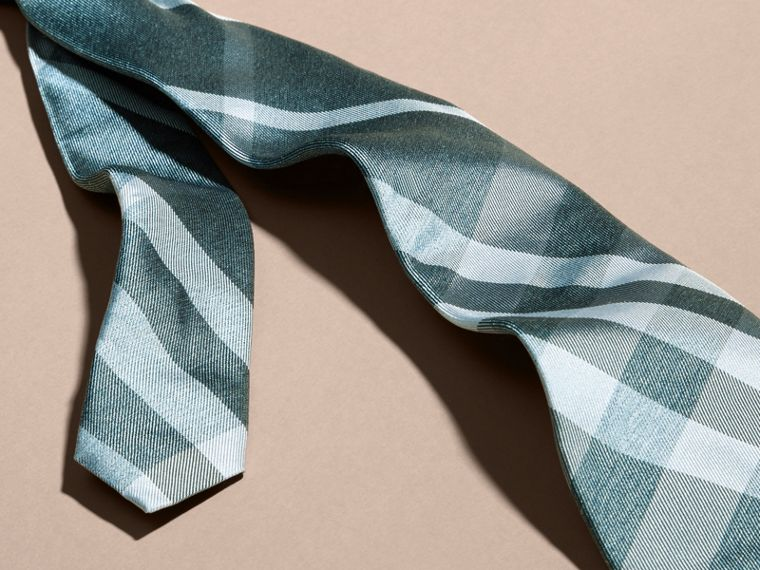 Aqua green Modern Cut Check Jacquard Silk Tie Aqua Green - cell image 1
