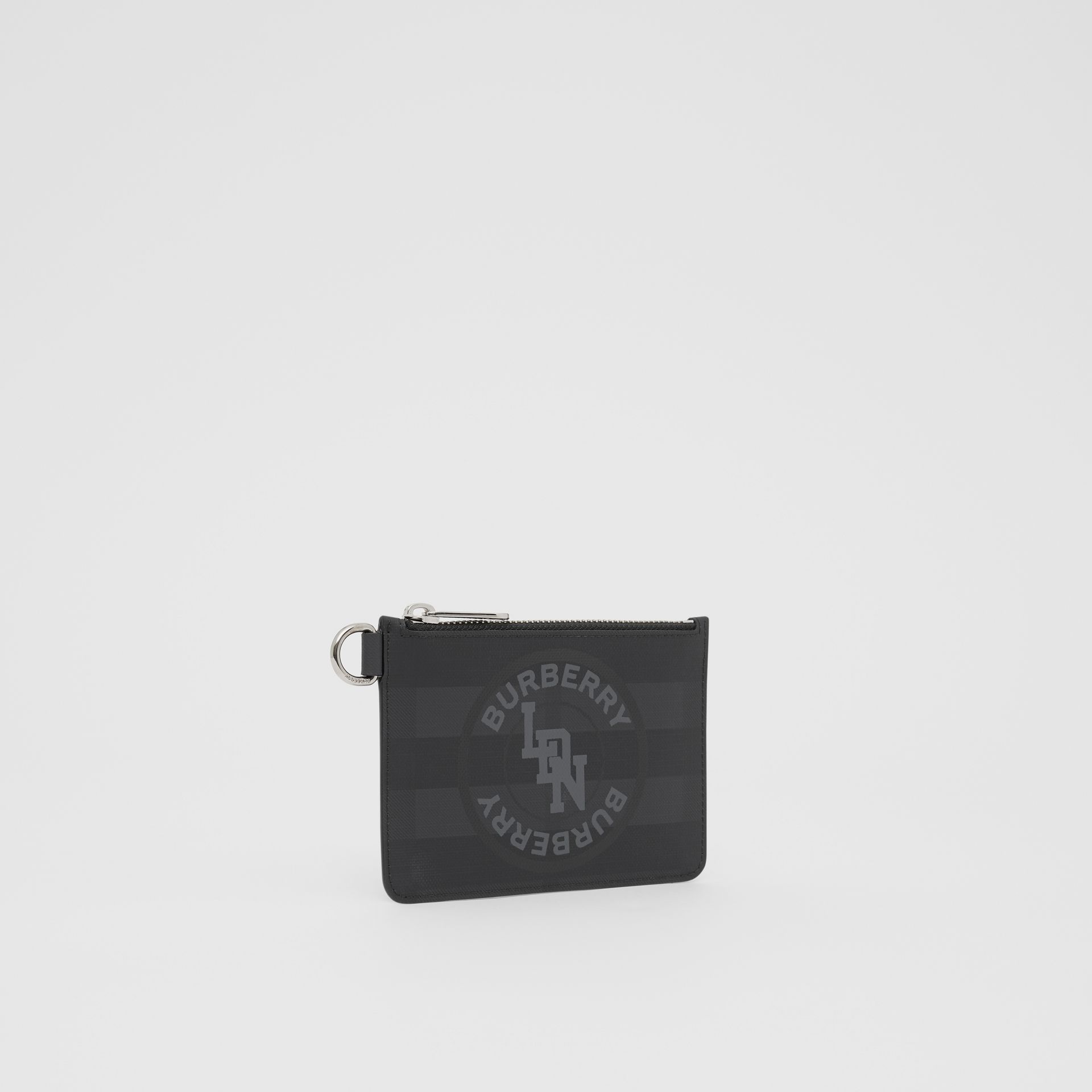 Logo Graphic London Check Zip Coin Case in Dark Charcoal - Men | Burberry - gallery image 4