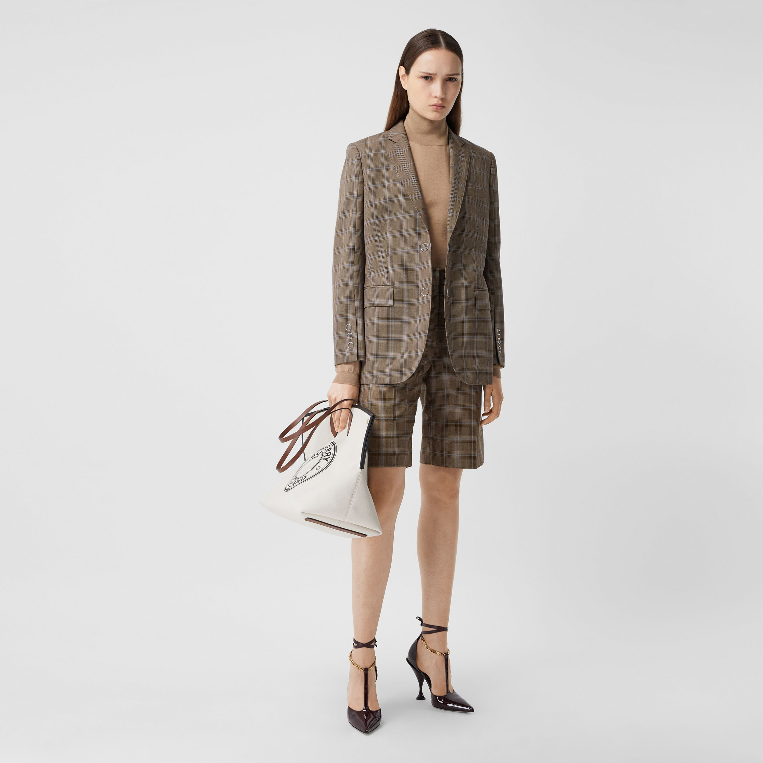 Prince of Wales Check Wool Tailored Jacket in Birch Brown - Women | Burberry - 1