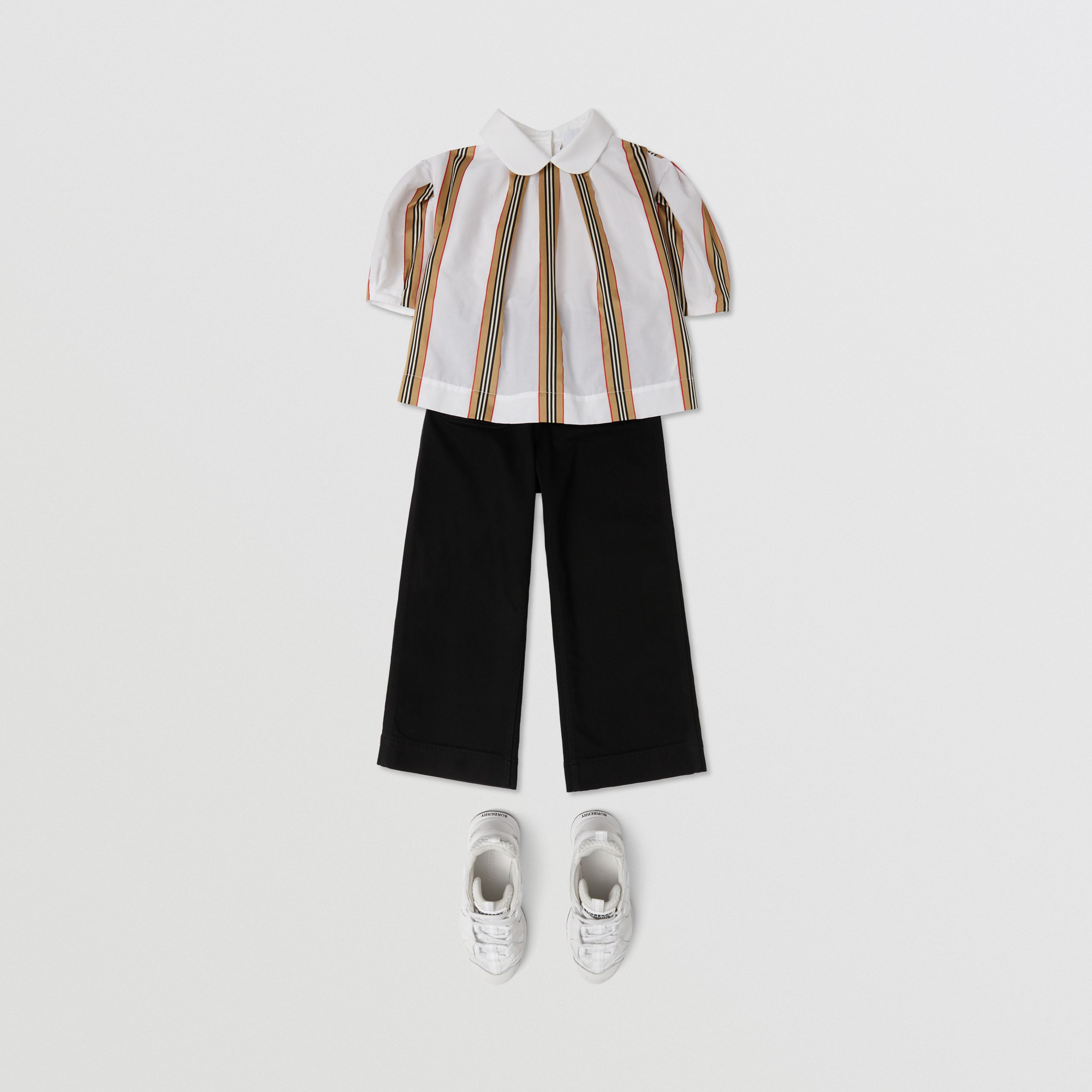 Peter Pan Collar Icon Stripe Cotton Blouse in White | Burberry - 3