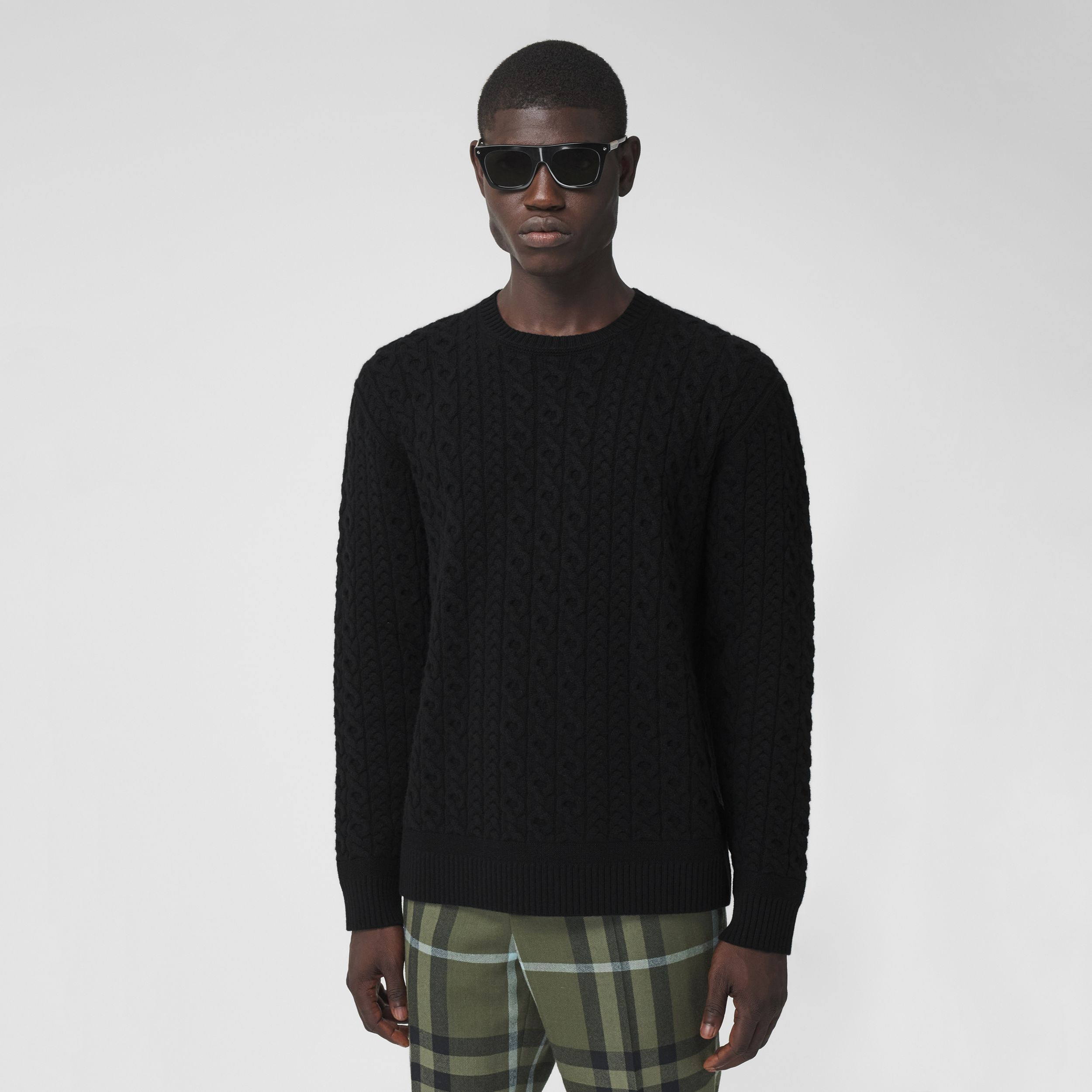 Cable Knit Wool Cashmere Sweater in Black - Men | Burberry - 1