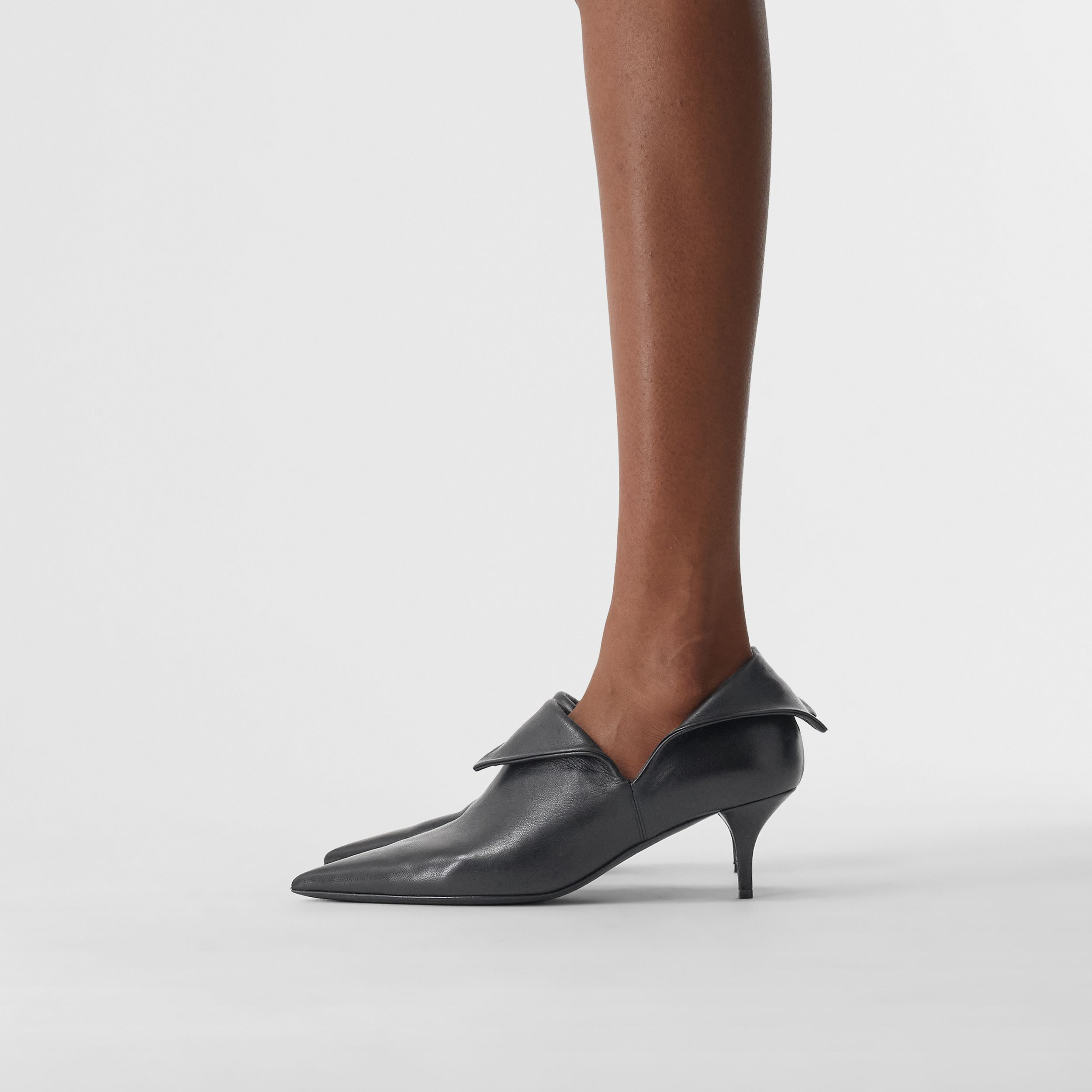 Lambskin Foldover Point-toe Pumps in Black - Women | Burberry - 3