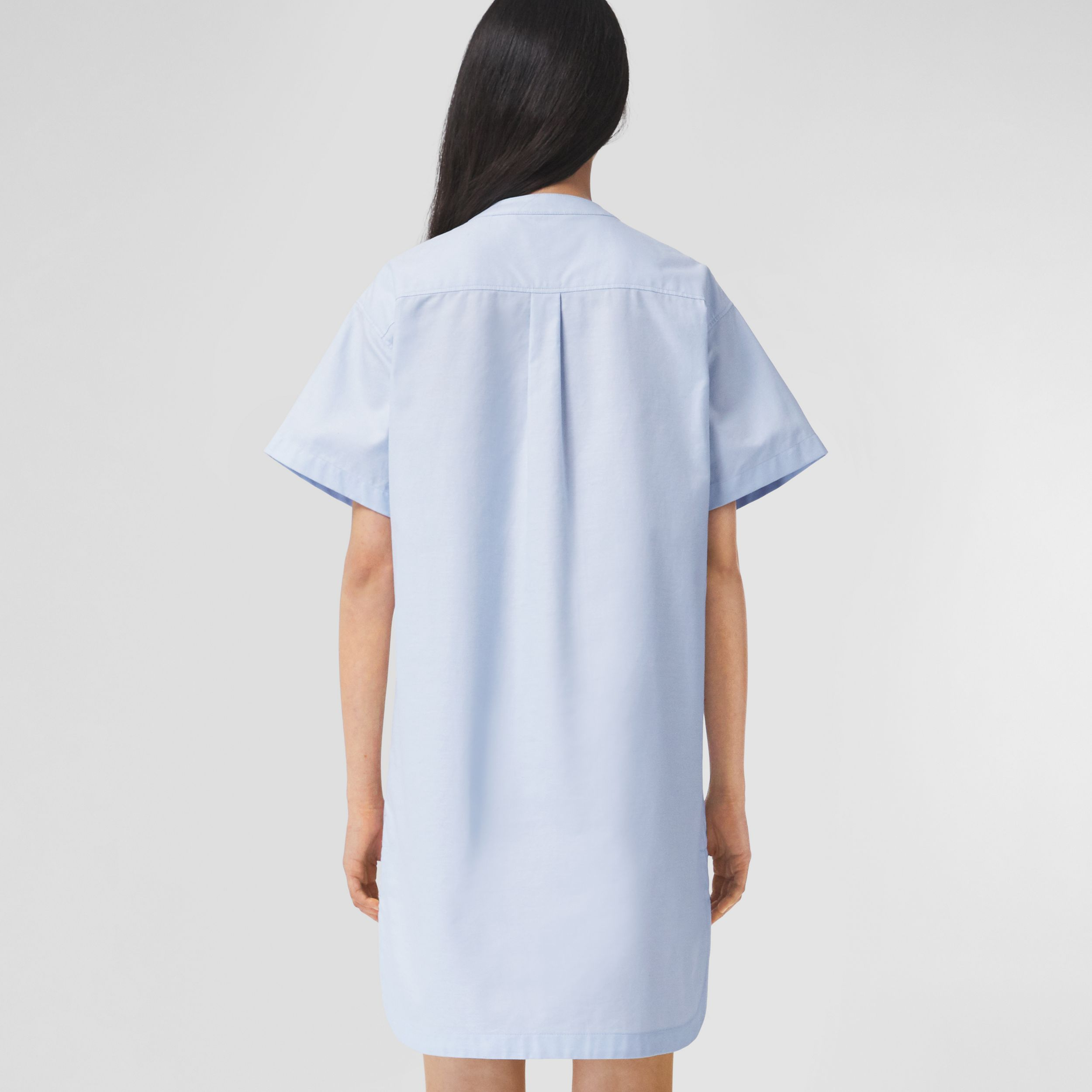 Short-sleeve Cotton Oxford Smock Dress in Pale Blue - Women | Burberry - 3