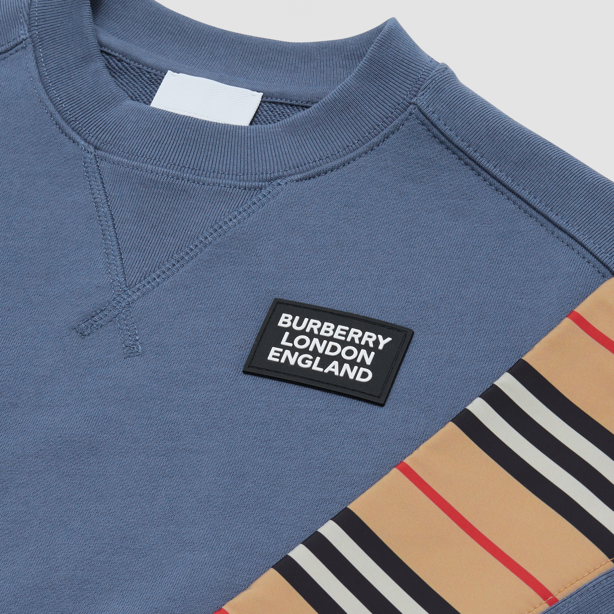 Icon Stripe Panel Cotton Sweatshirt in Steel Blue | Burberry - 2