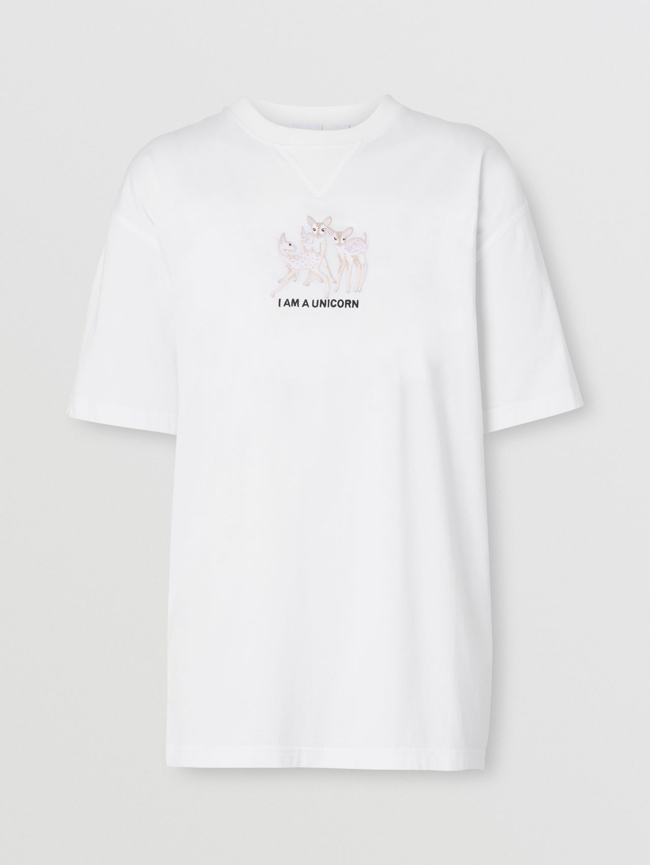 Embroidered Deer Cotton Oversized T-shirt in White