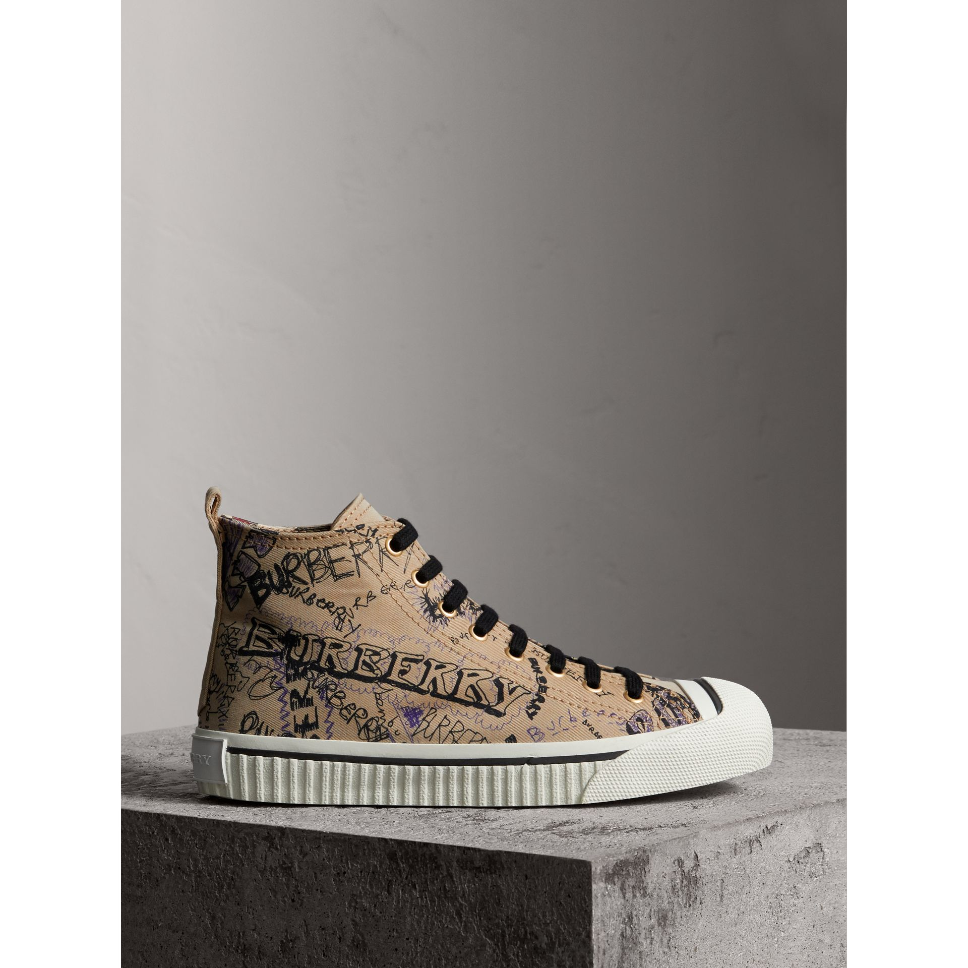 Doodle Print Cotton Gabardine High-top Trainers in Honey - Women | Burberry - gallery image 4