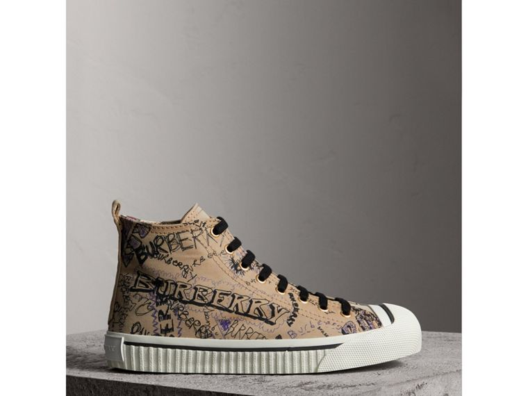 Doodle Print Cotton Gabardine High-top Trainers in Honey - Women | Burberry - cell image 4