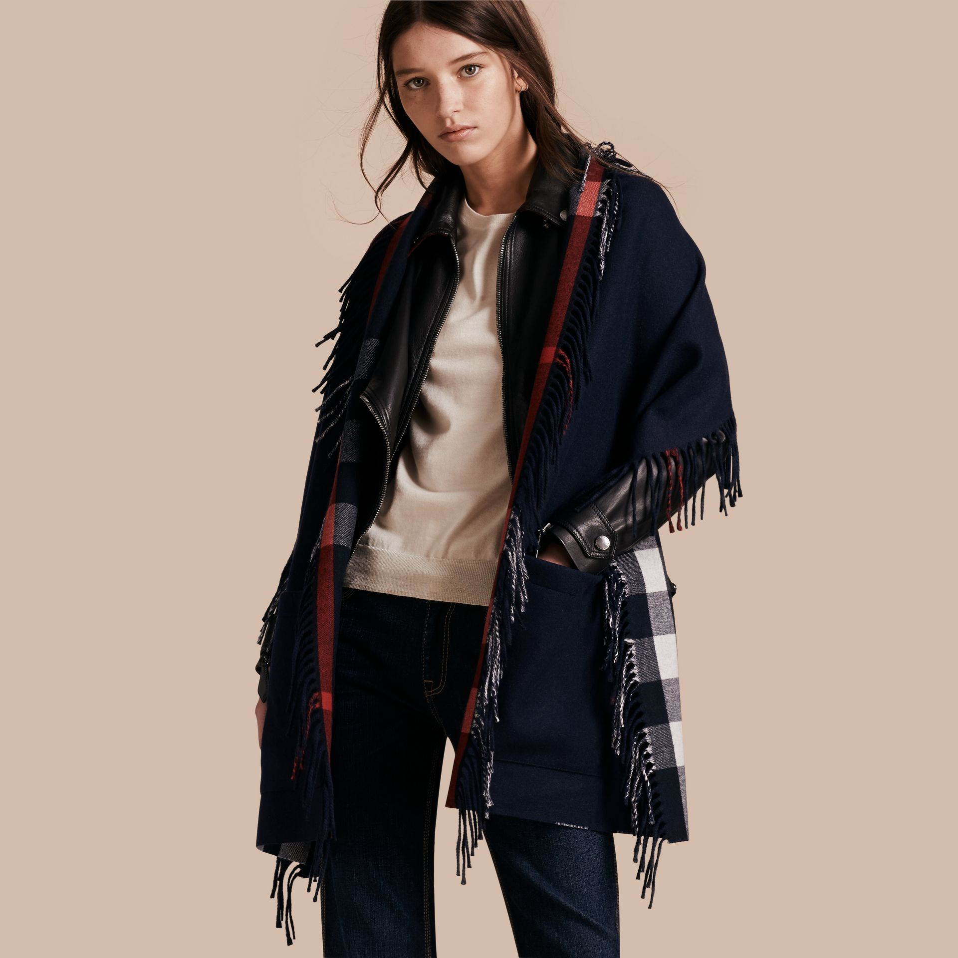 Fringed Cashmere Merino Wool Stole in Navy/indigo Blue - gallery image 1