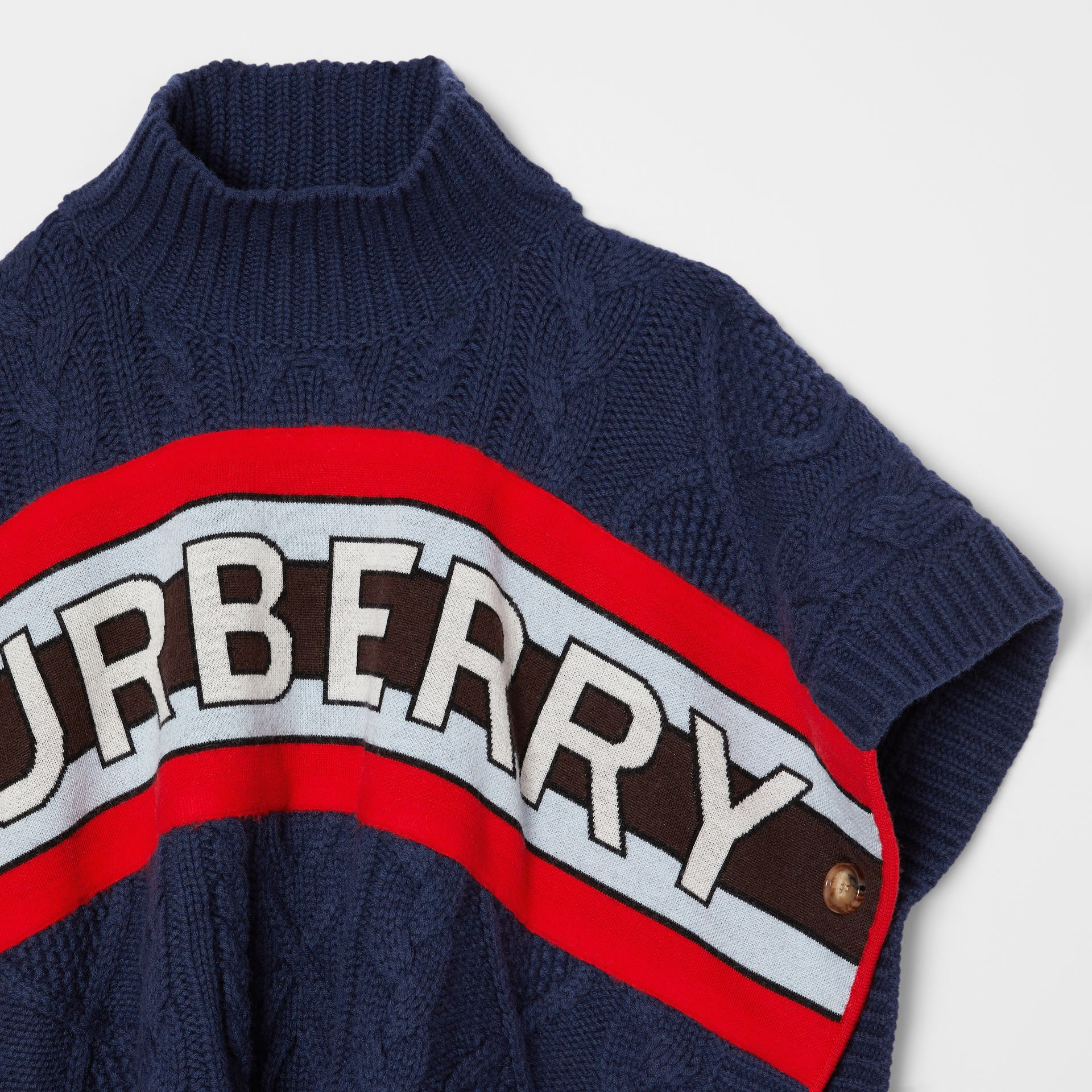 Logo Panel Cable Knit Wool Cashmere Poncho in Navy | Burberry Singapore - gallery image 3