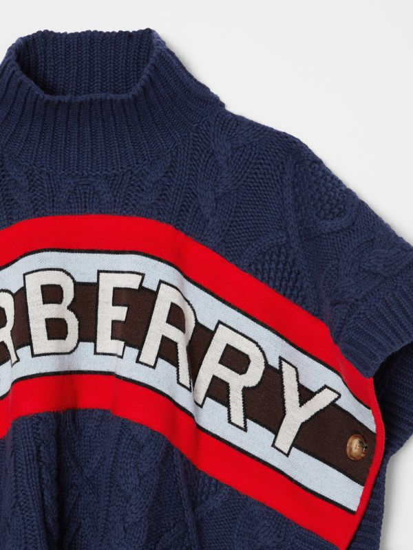 Logo Panel Cable Knit Wool Cashmere Poncho in Navy | Burberry Singapore - cell image 3