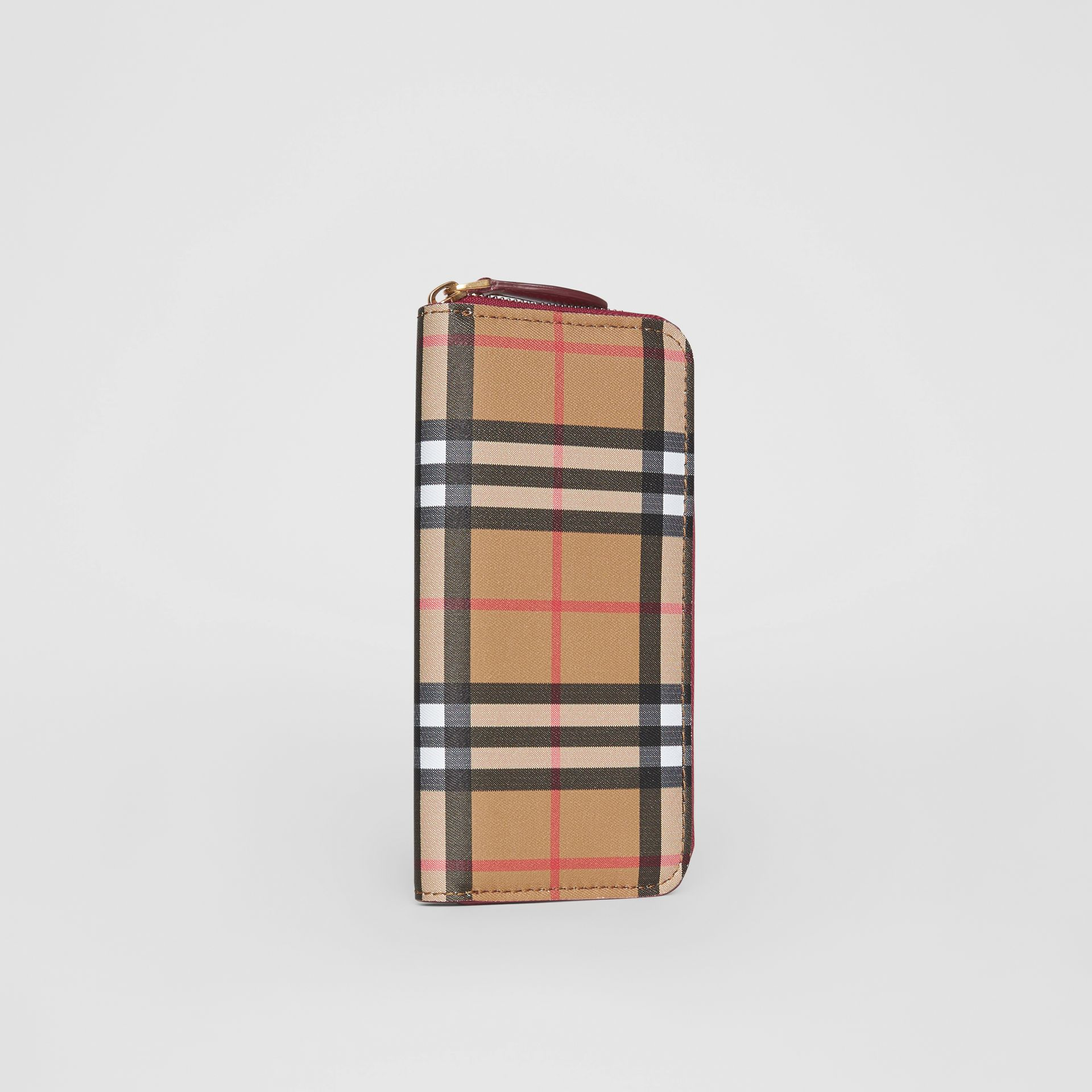 Vintage Check and Leather Ziparound Wallet in Crimson - Women | Burberry Singapore - gallery image 2