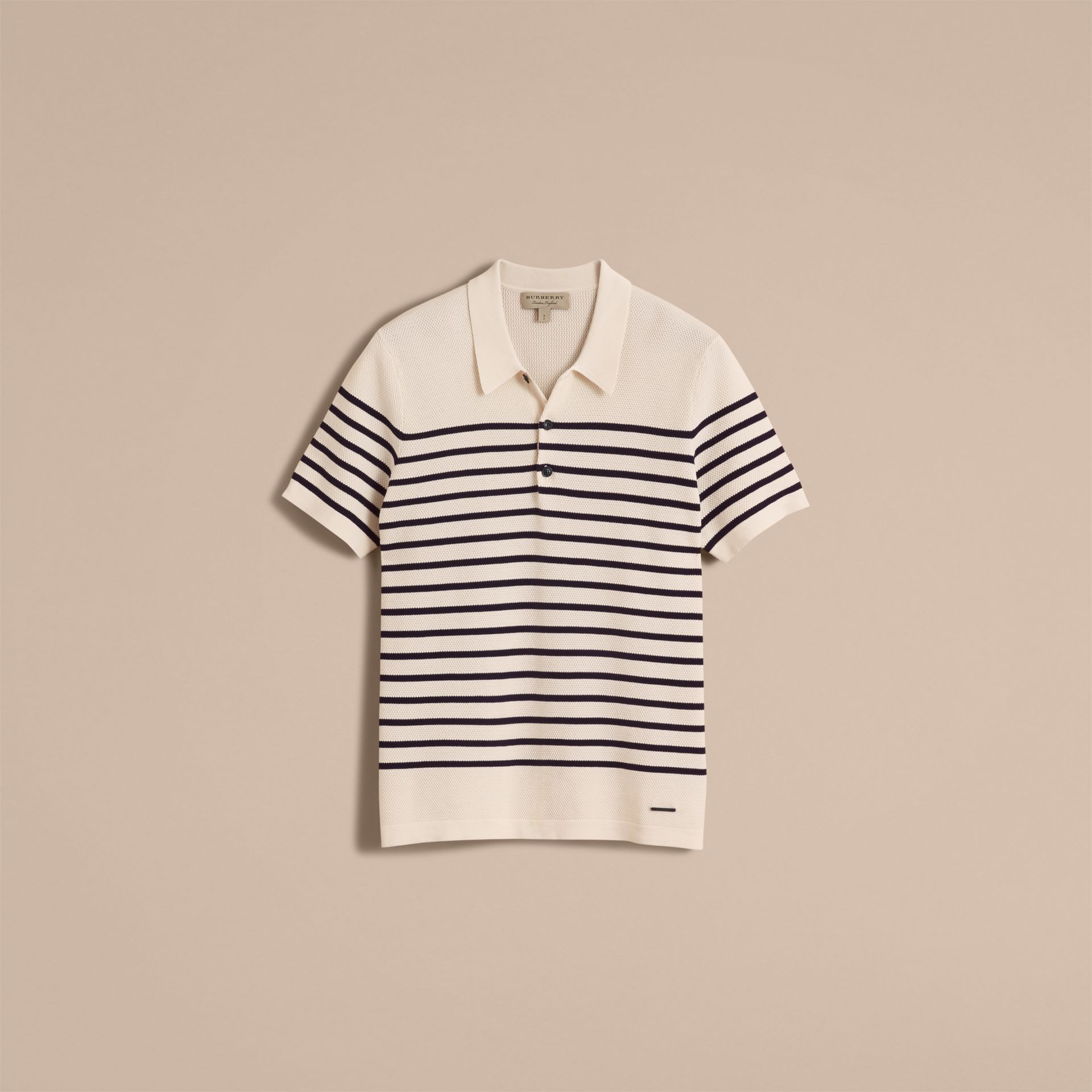 Striped Knitted Cotton Polo Shirt in White - Men | Burberry - gallery image 4