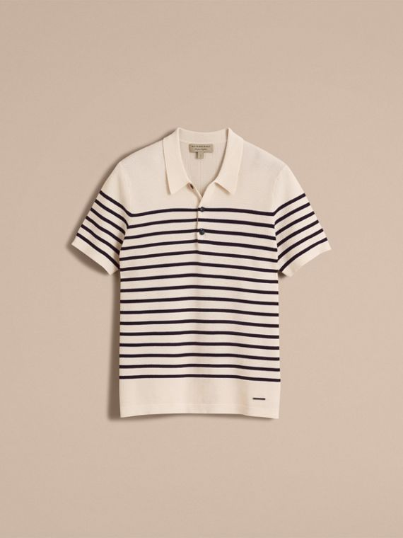 Striped Knitted Cotton Polo Shirt in White - Men | Burberry Canada - cell image 3