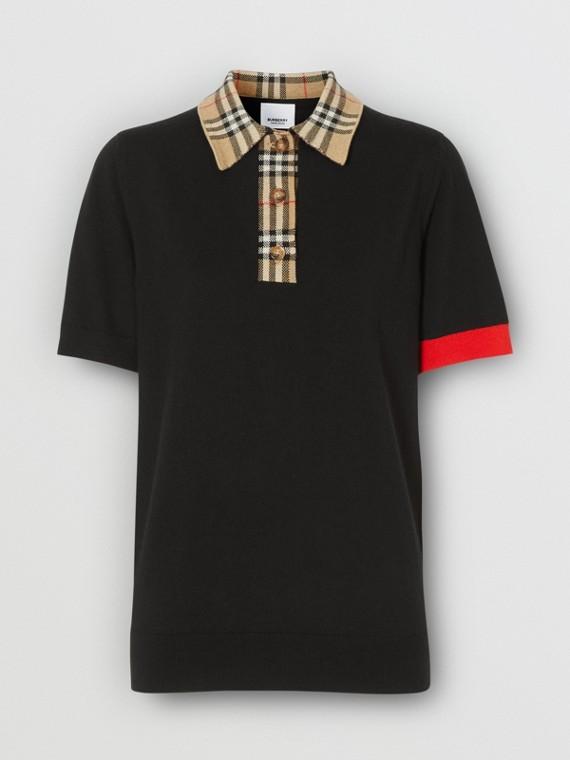 Vintage Check Trim Merino Wool Polo Shirt in Black