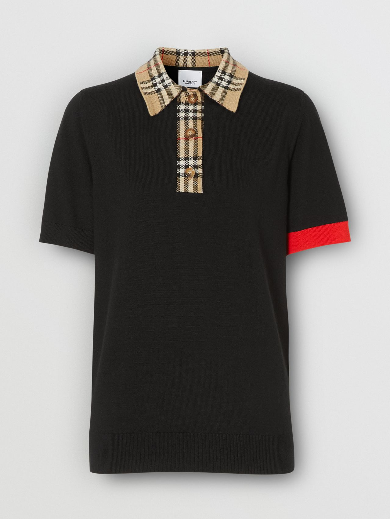 Vintage Check Trim Merino Wool Polo Shirt in Black