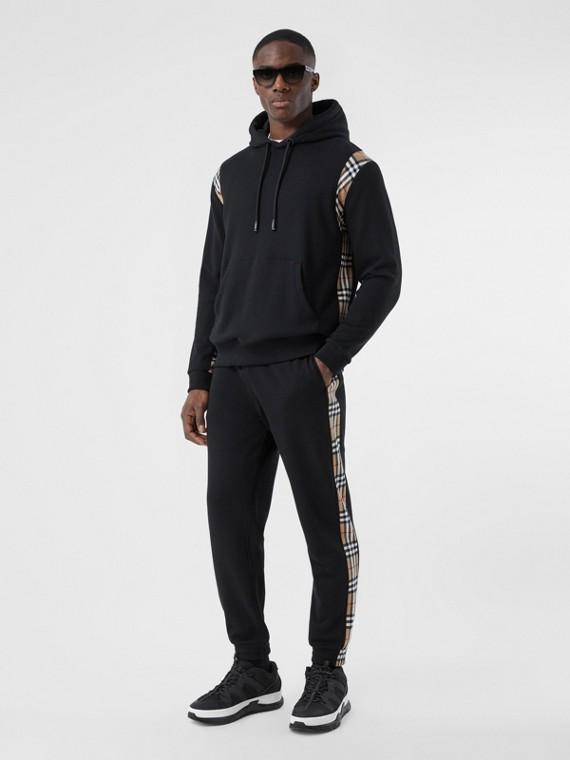 Pantaloni da jogging in cotone con inserti Vintage check (Nero)