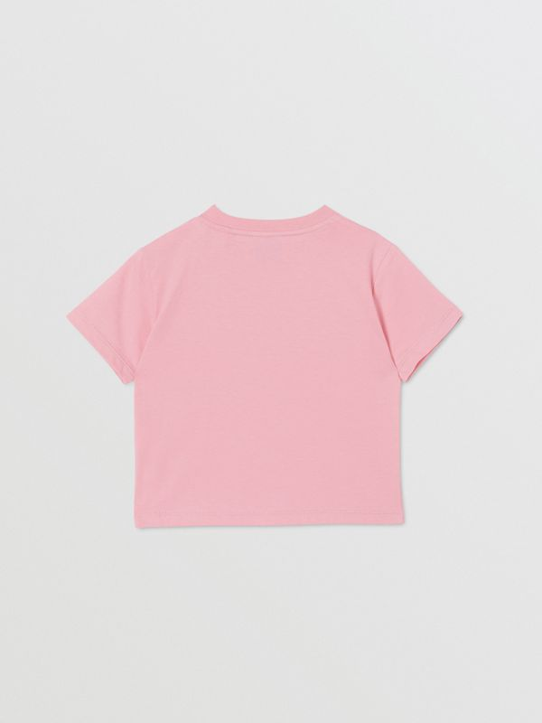 Logo Print Cotton T-shirt in Candy Pink - Children | Burberry - cell image 3