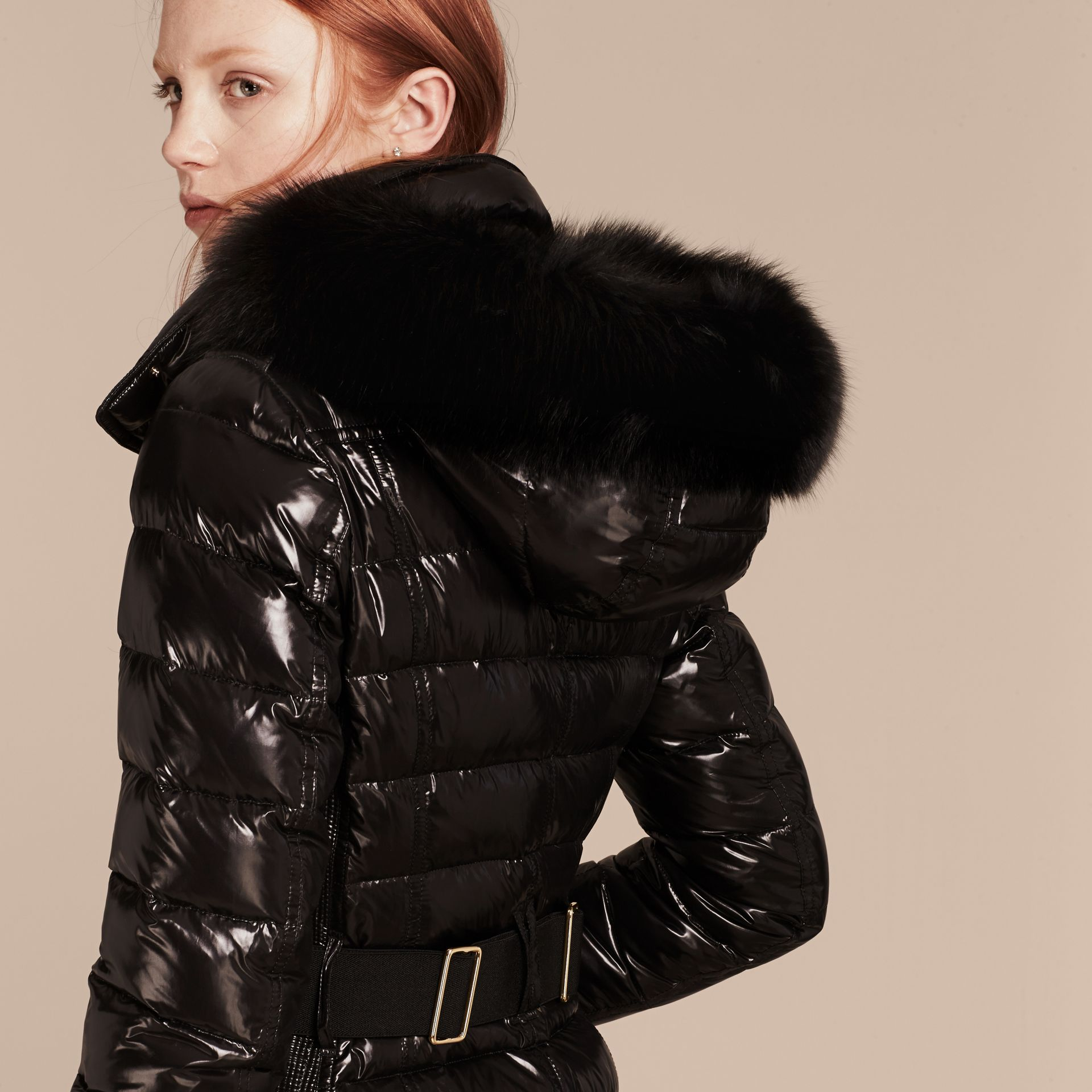 Black Down-Filled Coat with Detachable Fur-trimmed Hood Black - gallery image 2
