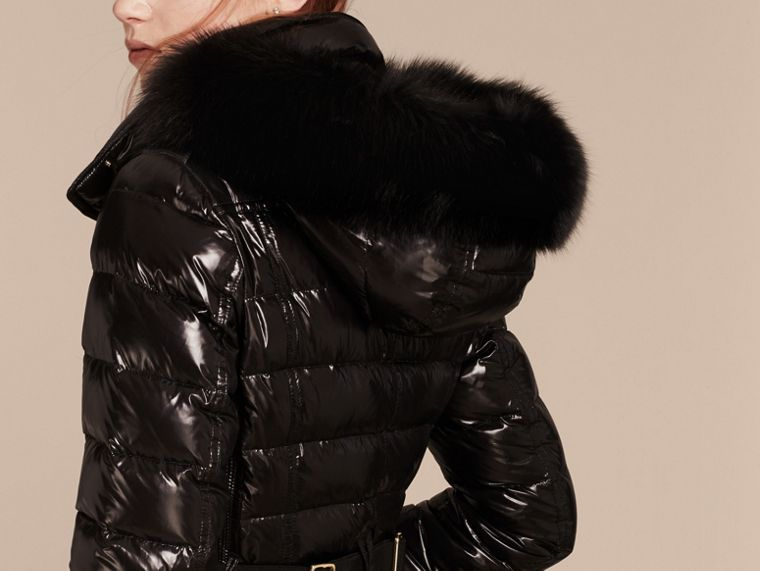 Black Down-Filled Coat with Detachable Fur-trimmed Hood Black - cell image 1