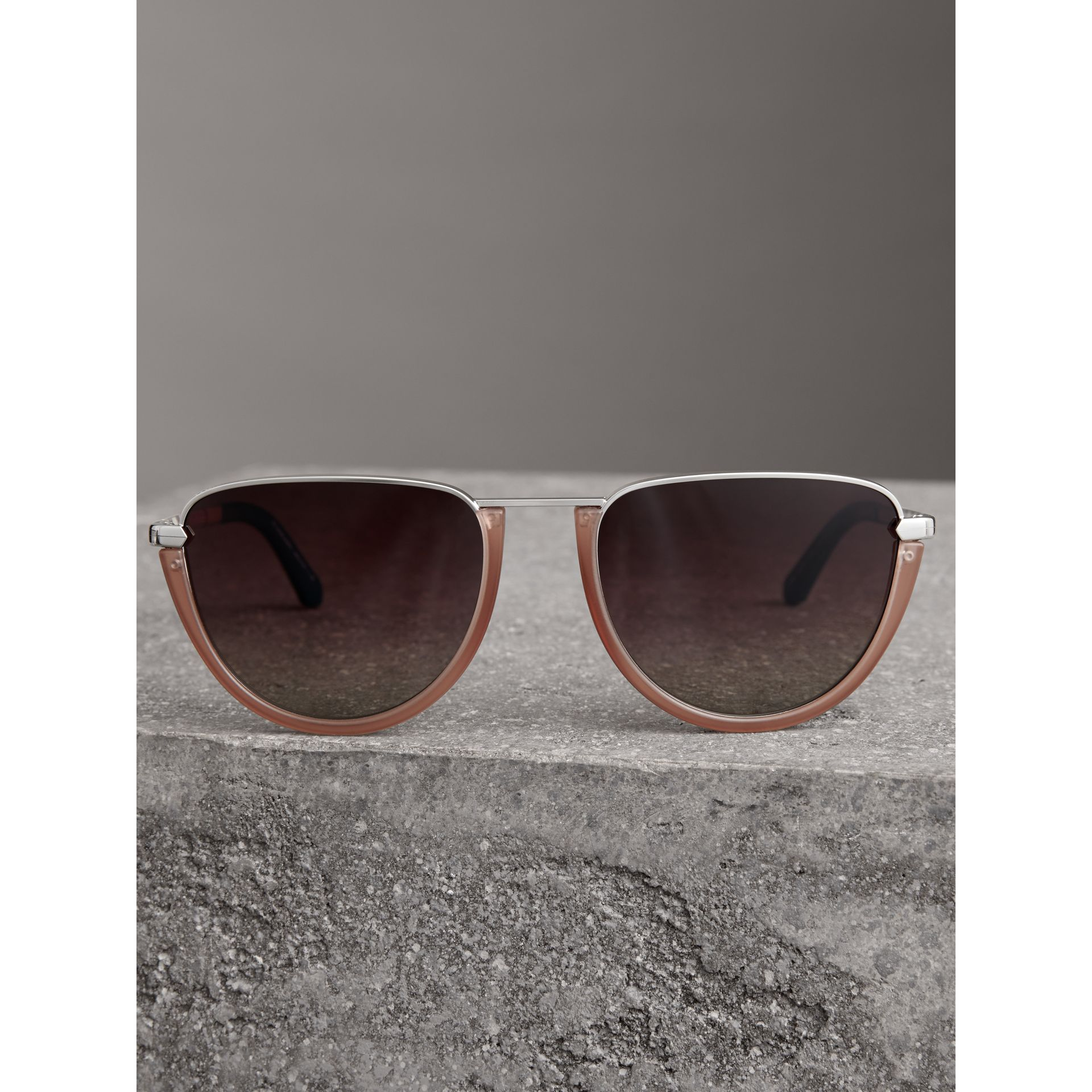 Half Moon Pilot Round Frame Sunglasses in Nude - Women | Burberry - gallery image 3