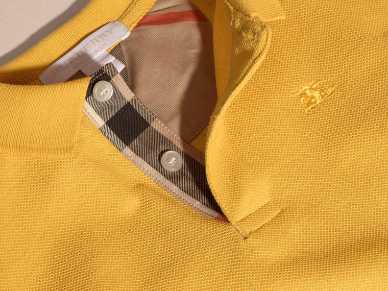 Check Placket Polo Shirt in Bright Yellow - Boy | Burberry - cell image 1