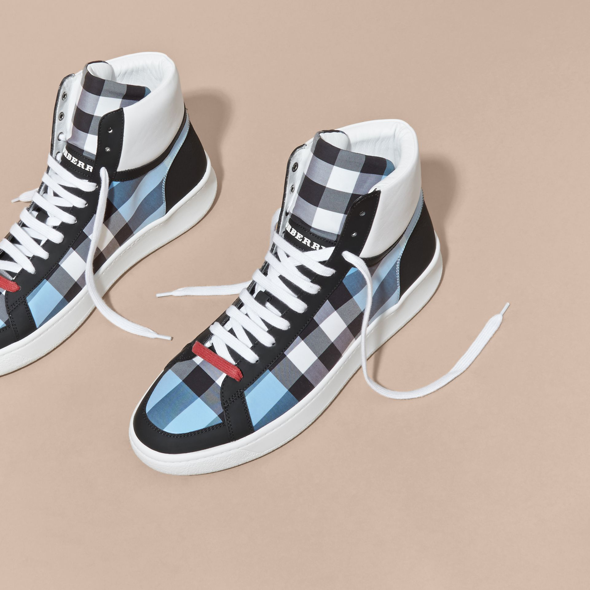 Leather and Check High-top Trainers Light Blue - gallery image 3