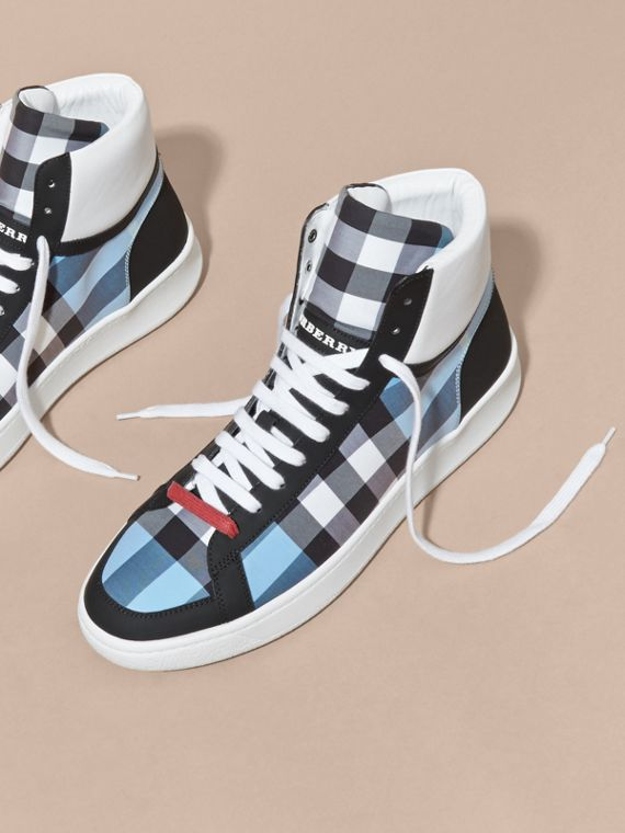 Leather and Check High-top Trainers in Light Blue - cell image 2