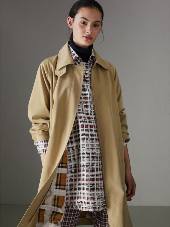 Tropical Gabardine Car Coat in Oatmeal
