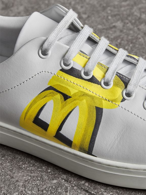 Logo Print Leather Sneakers in Optic White/yellow - Men | Burberry Australia - cell image 1