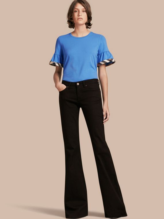 Stretch Cotton T-shirt with Check Trim Ruffles Bright Hydrangea Blue