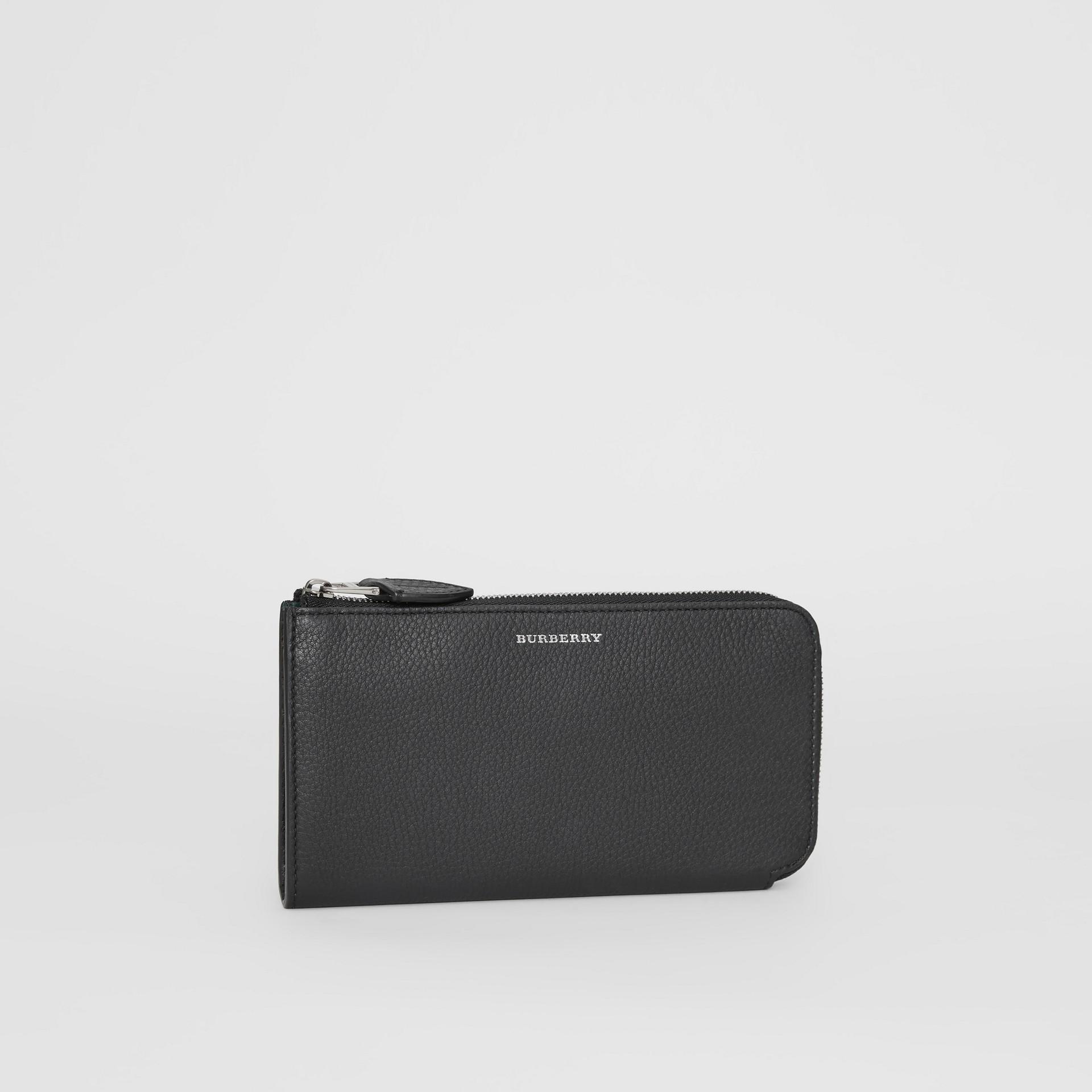 Portefeuille zippé avec porte-monnaie en cuir bicolore (Noir) - Femme | Burberry Canada - photo de la galerie 3