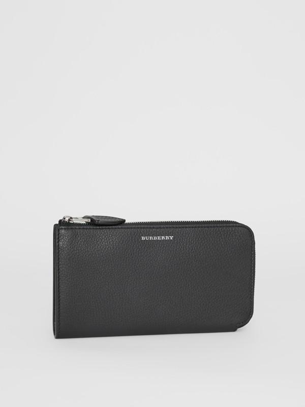 Portefeuille zippé avec porte-monnaie en cuir bicolore (Noir) - Femme | Burberry Canada - cell image 3