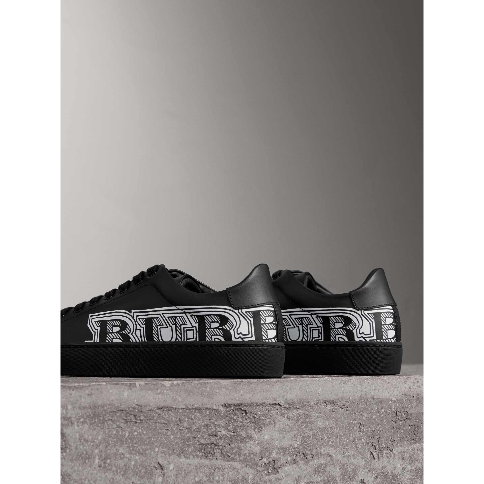 Doodle Print Leather Trainers in Black | Burberry - gallery image 4