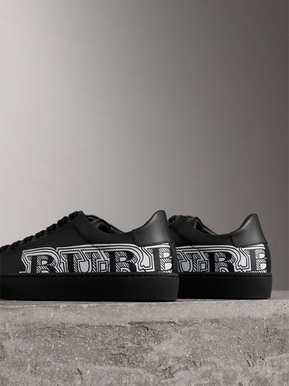 Doodle Print Leather Trainers in Black | Burberry - cell image 3