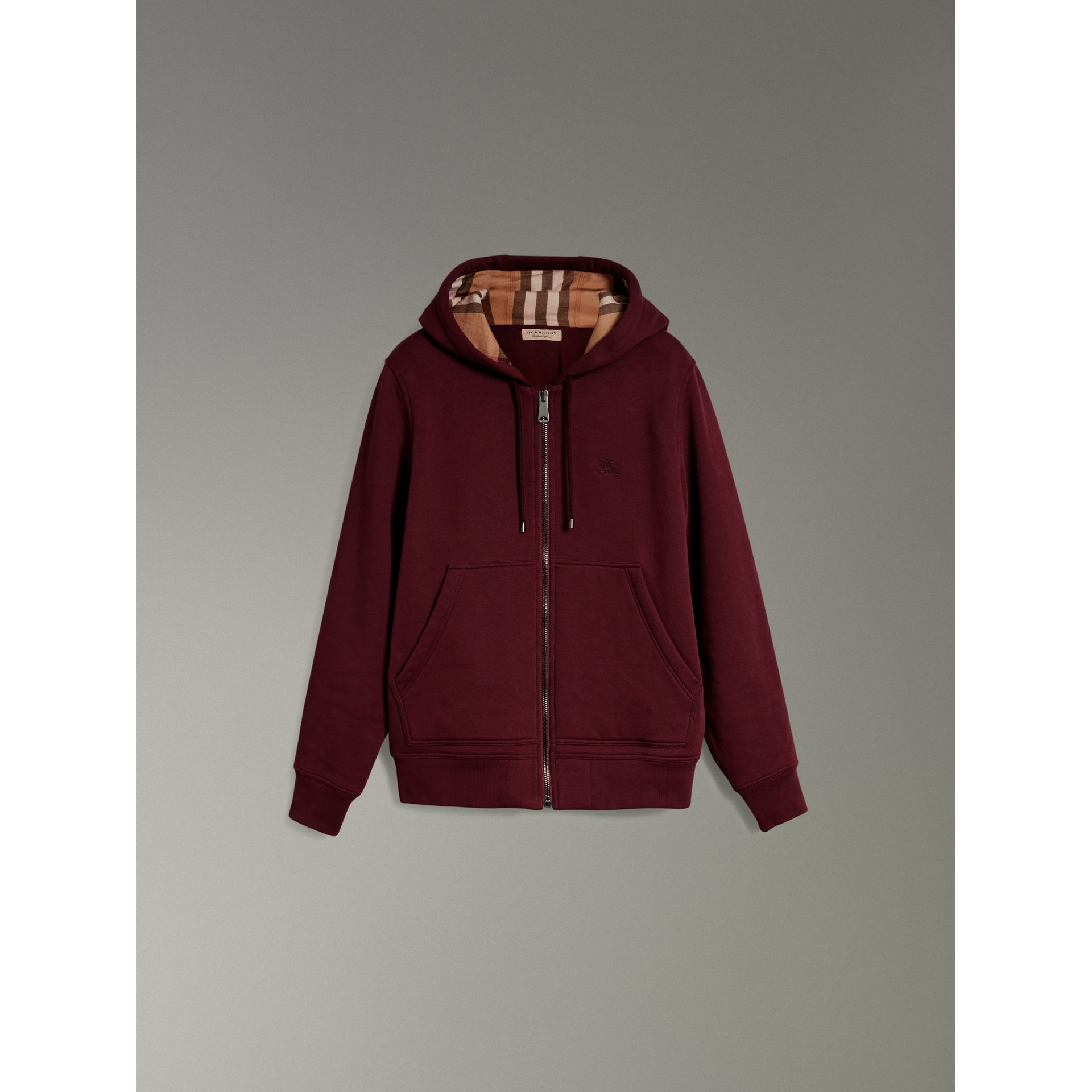 Check Detail Jersey Hooded Top in Dark Crimson - Men | Burberry United Kingdom - gallery image 3