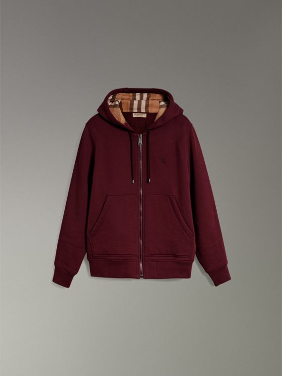 Check Detail Jersey Hooded Top in Dark Crimson - Men | Burberry United Kingdom - cell image 3