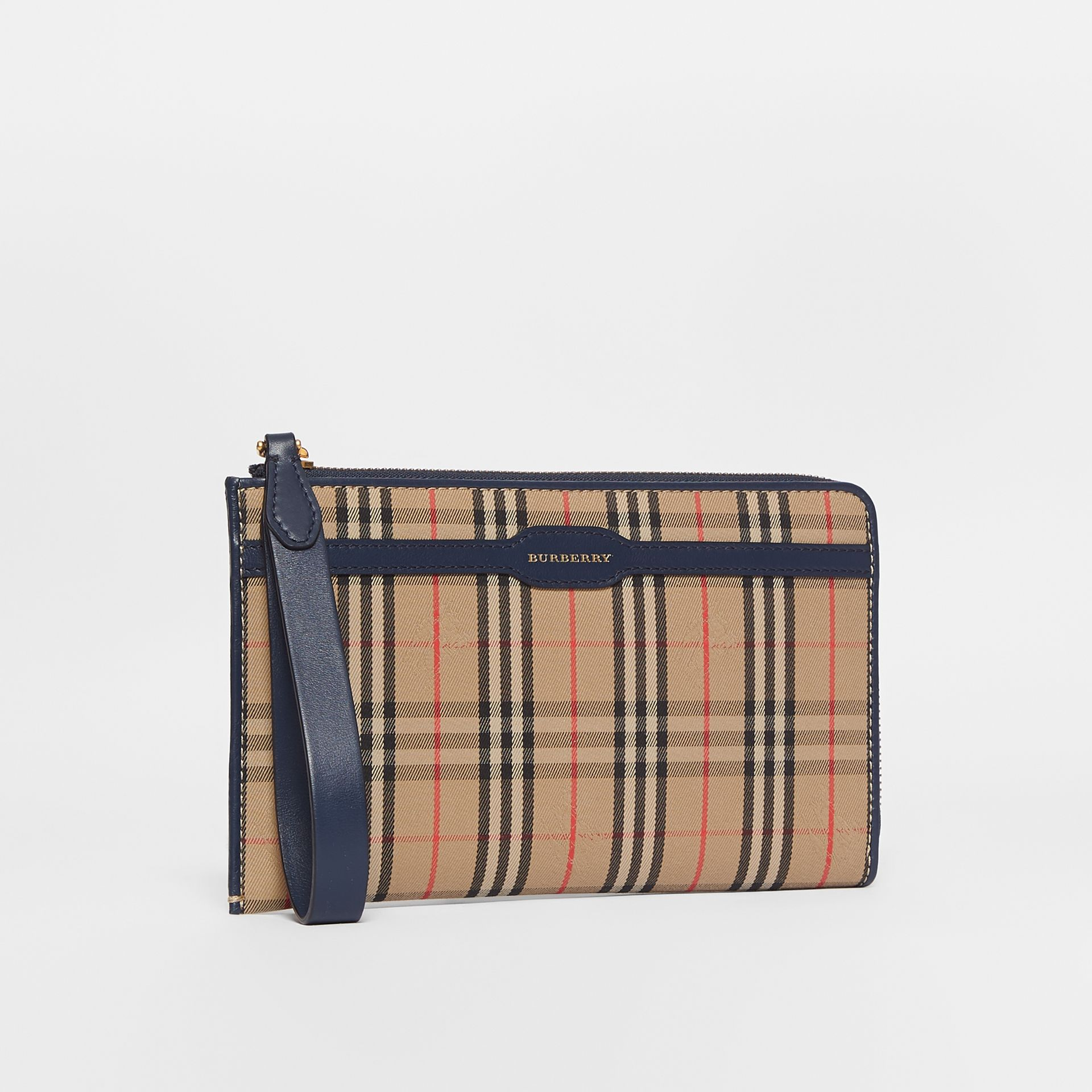 1983 Check and Leather Travel Wallet in Ink Blue | Burberry - gallery image 7