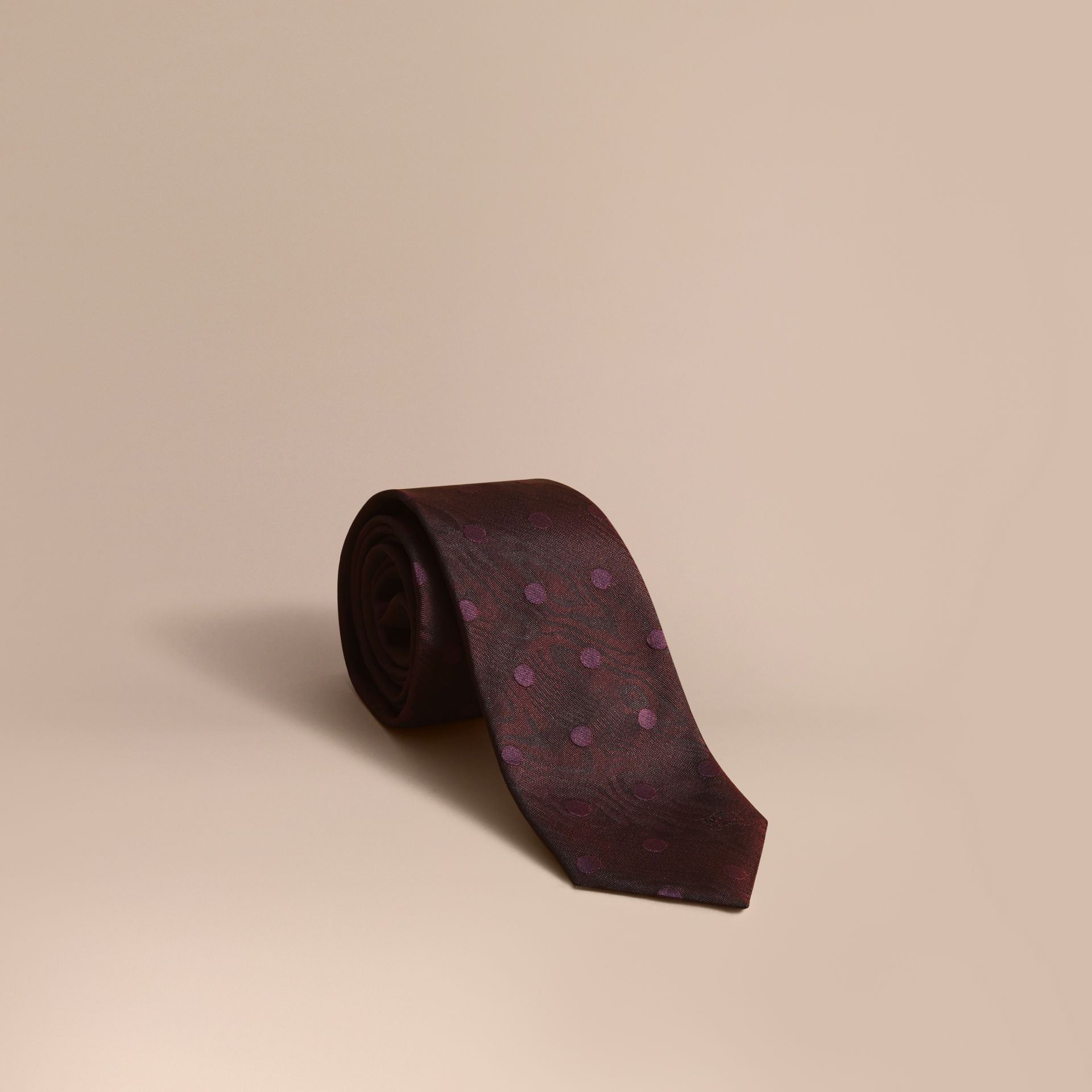 Modern Cut Polka Dot Silk Tie in Deep Claret - gallery image 1