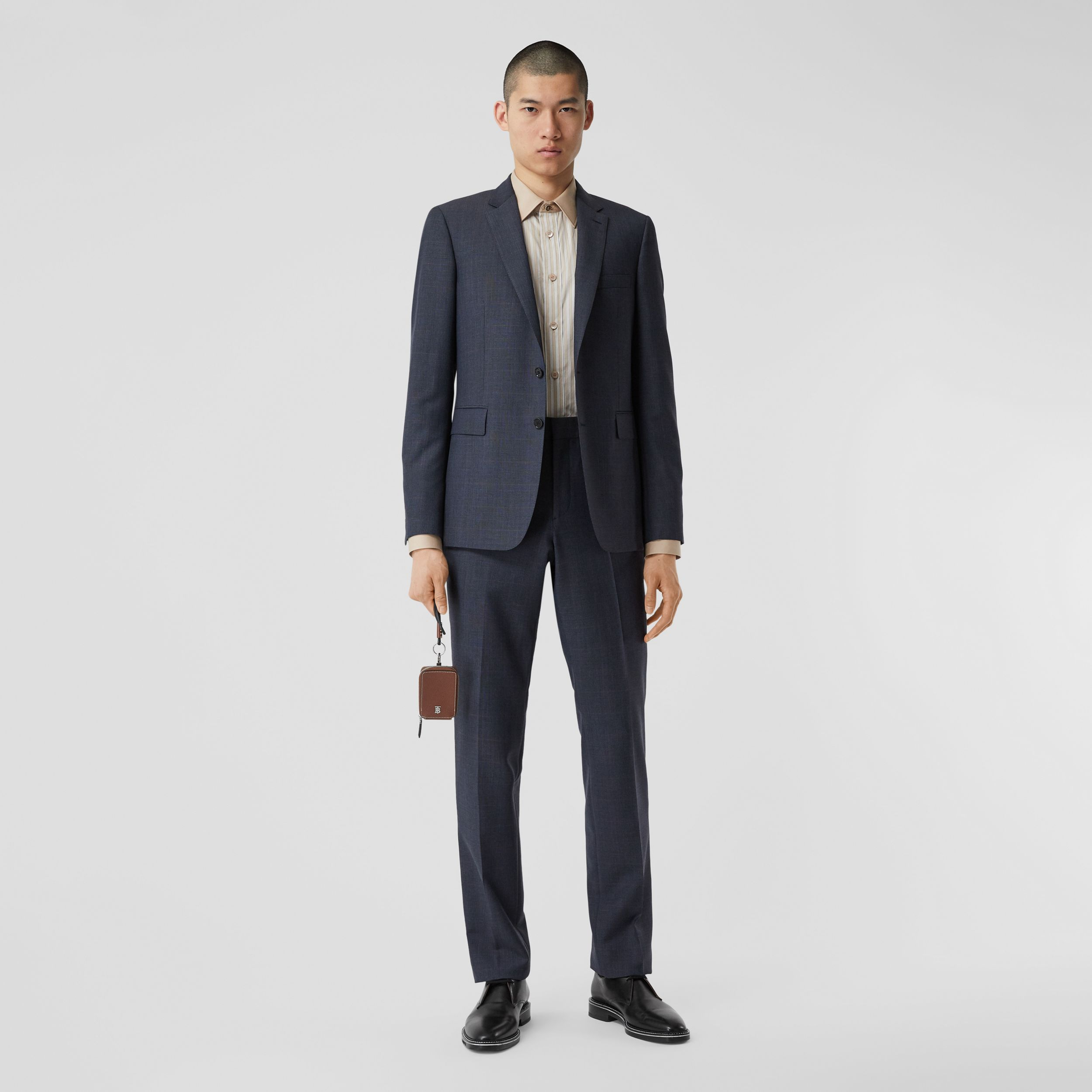 Slim Fit Prince of Wales Check Wool Suit in Carbon Blue - Men | Burberry - 1