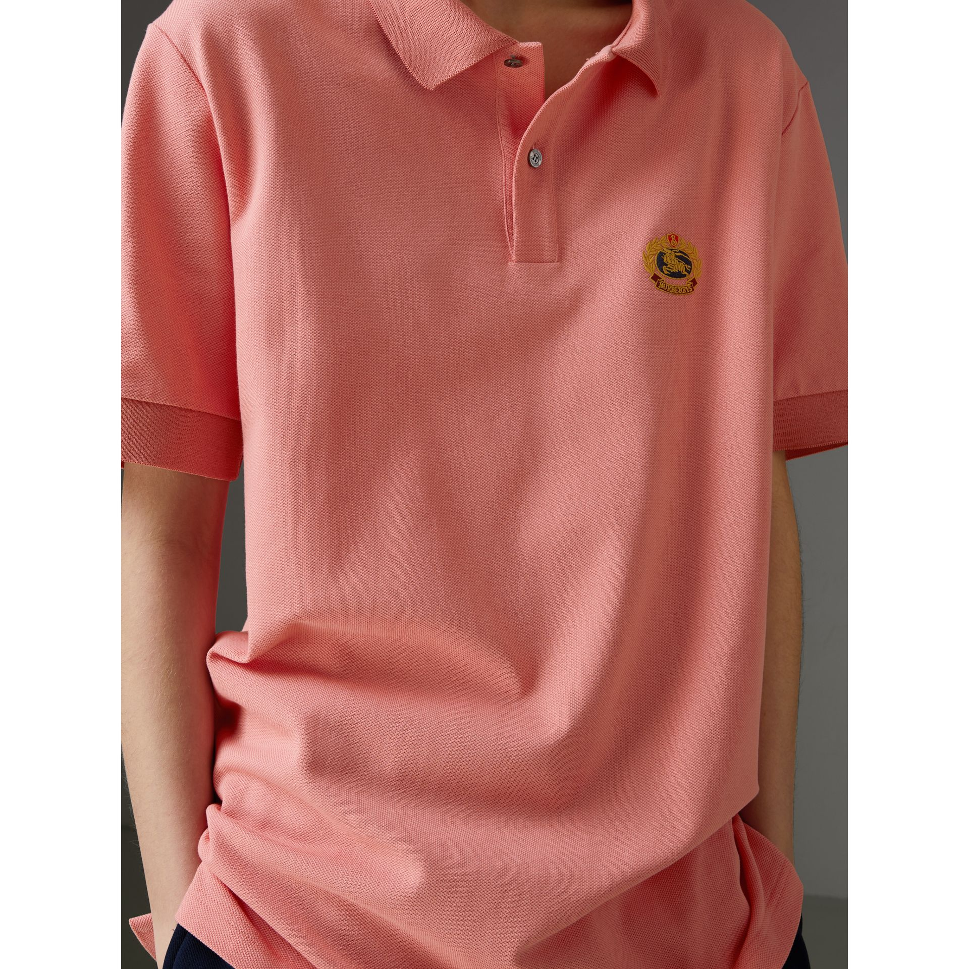 Reissued Cotton Polo Shirt in Coral - Women | Burberry - gallery image 1