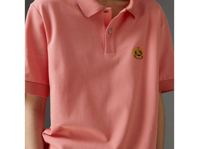 Reissued Cotton Polo Shirt in Coral - Women | Burberry - cell image 1