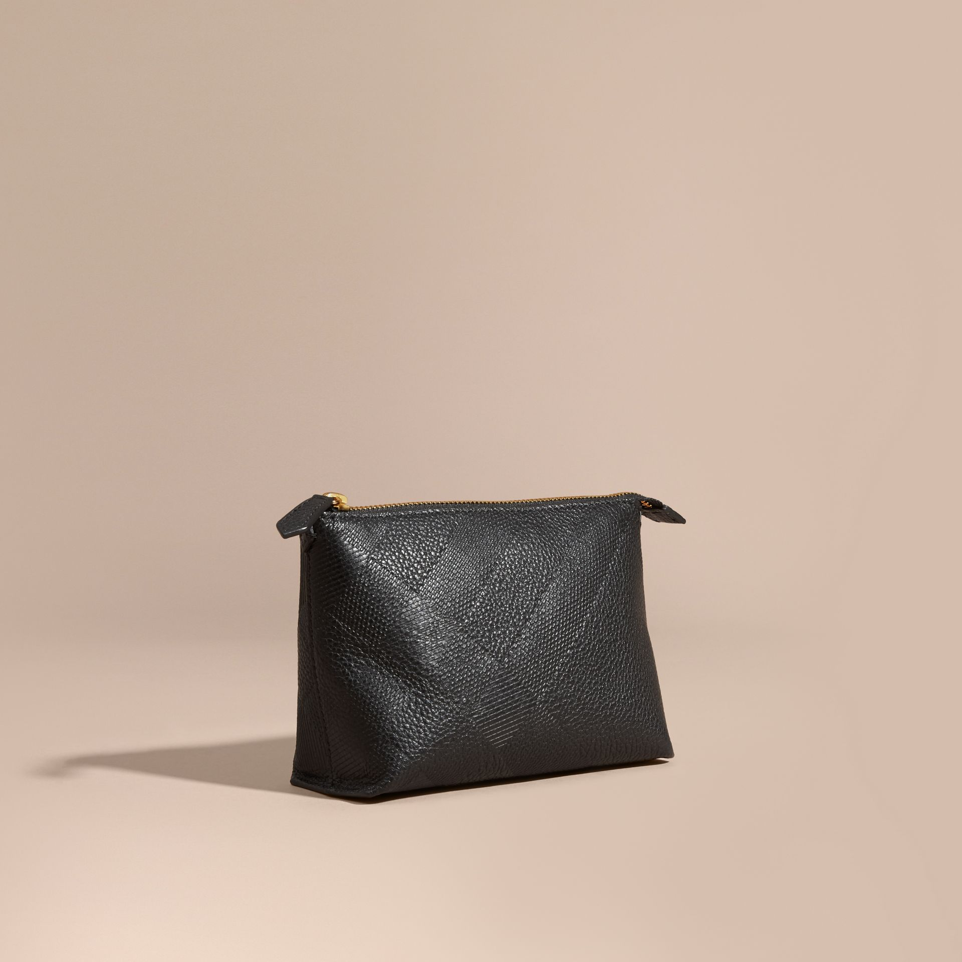 Black Embossed Check Leather Beauty Pouch Black - gallery image 1