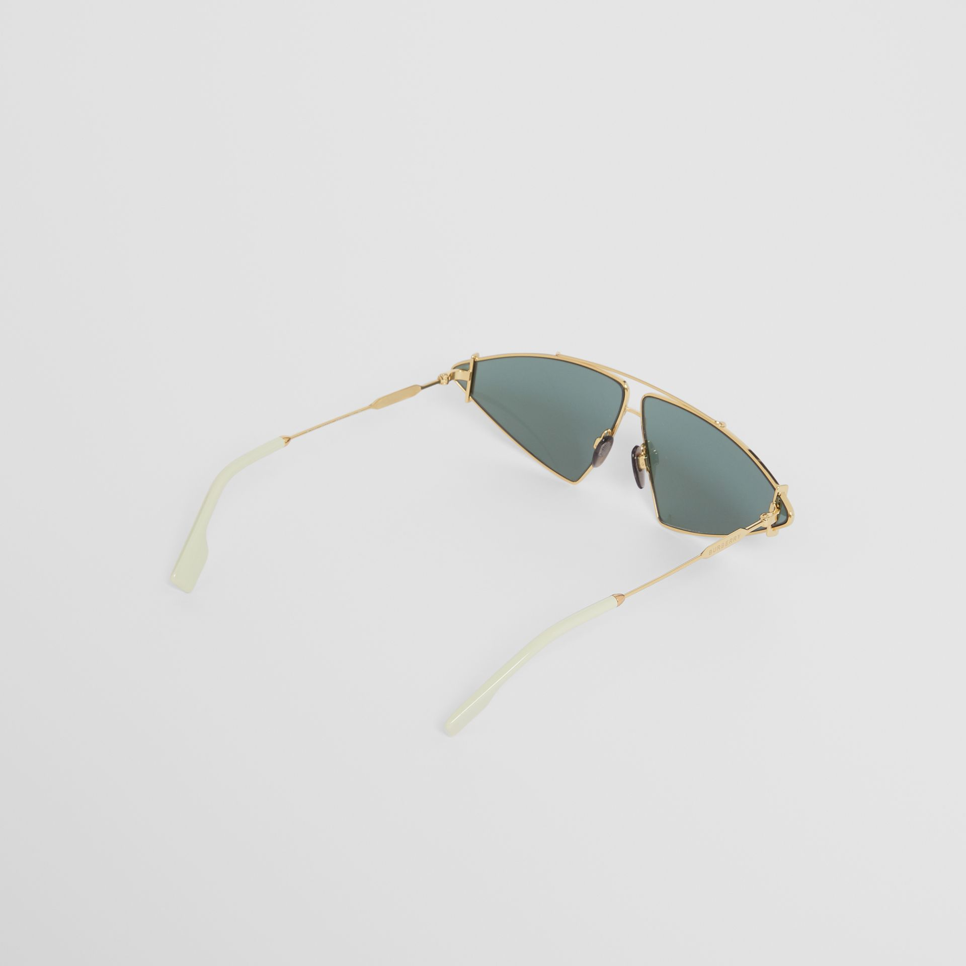 Gold-plated Triangular Frame Sunglasses in Pistachio - Women | Burberry - gallery image 4