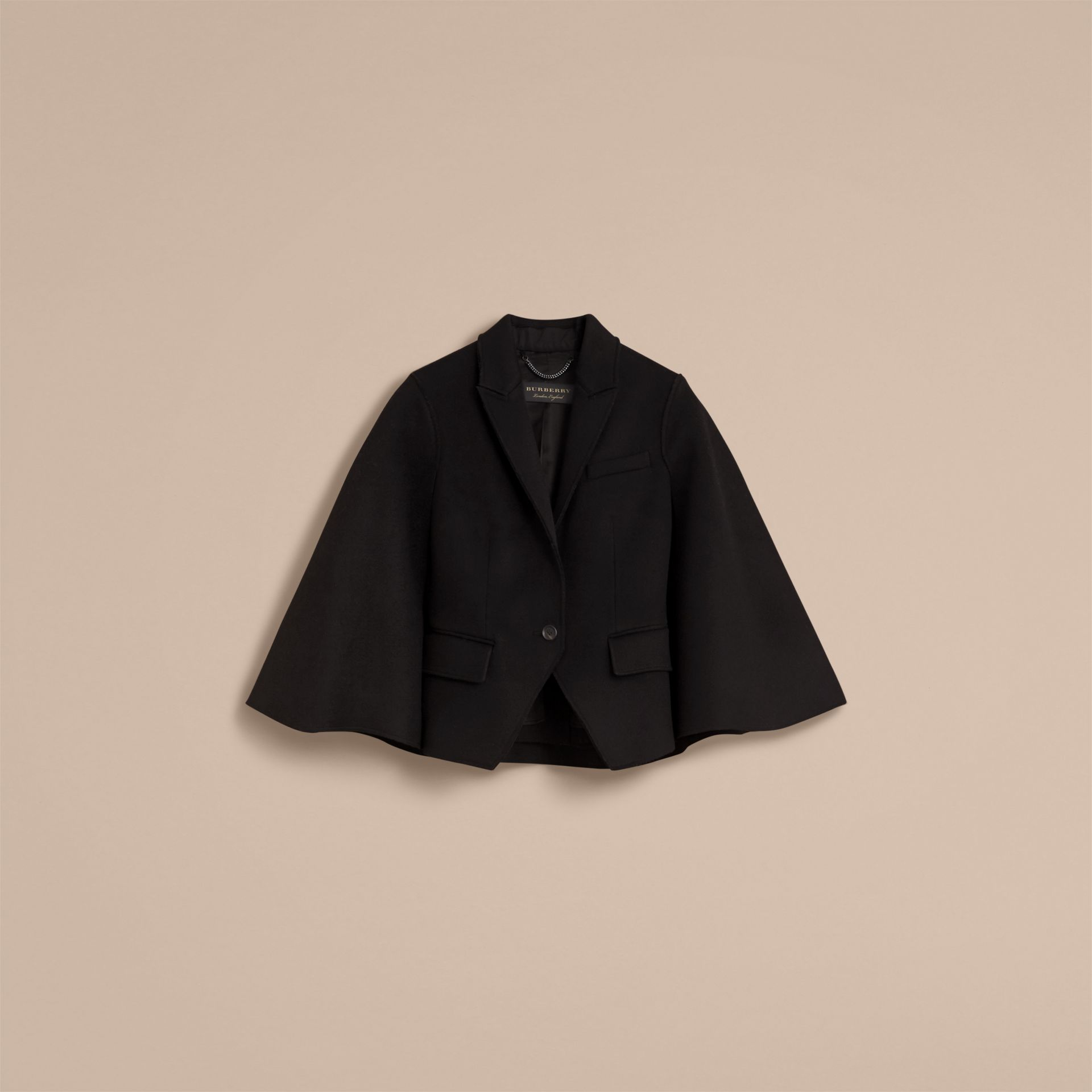Double-faced Wool Cape Jacket in Black - Women | Burberry - gallery image 4