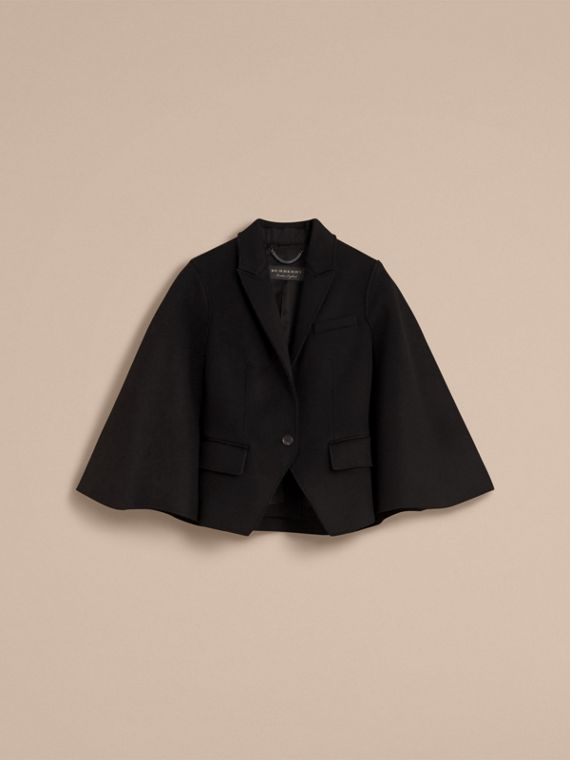 Double-faced Wool Cape Jacket in Black - Women | Burberry - cell image 3