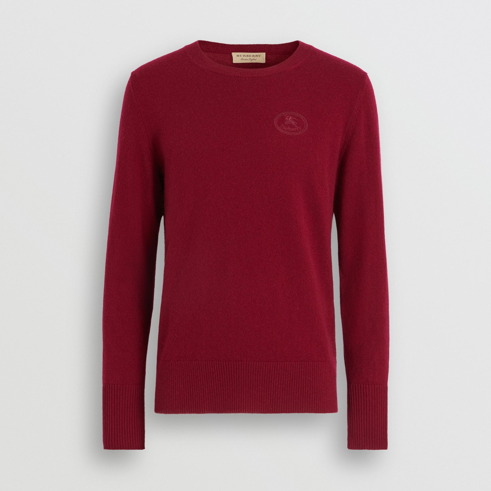 Embroidered Logo Cashmere Sweater in Claret - Men | Burberry Singapore - gallery image 3